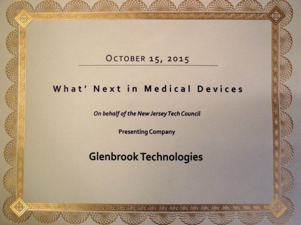 """Glenbrook Receives NJTC Award for """"What's Next in Medical Devices"""" 2015"""